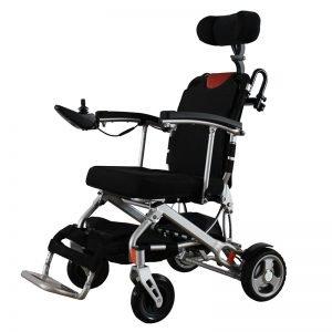 folding motorized wheelchair with headrest