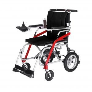 lightweight electric wheelchair Travel Chair on the planet .with black seat cushion