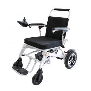 portable electric wheelchiar with black seat cushion